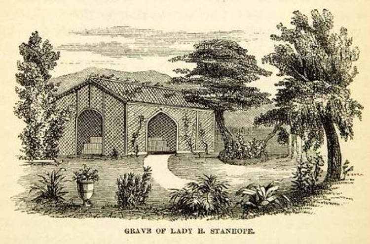 1858 Wood Engraving Art Lady Hester Stanhope Lebanon Middle East Grave Tomb
